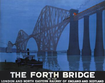 The Forth Bridge, Scottish Railway Travel Poster Print